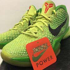 Nike Zoom Kobe VI 6 sz 8.5 Grinch Volt Green Apple Christmas Xmas Red 429659-701