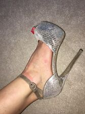 River Island Nude Sparkle Peep Toe Strappy Sandal Size 6 Ex Condition