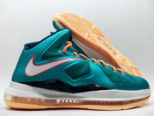 "NIKE LEBRON X ""MIAMI DOLPHINS"" ATOMIC TEAL/ORANGE SIZE MEN'S 9 [541100-302]"