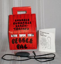 Lovable Rubbable Leash-Trained Pebble Pal Necklace - Pet Rock 70s Era Vintage