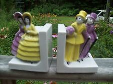Vintage Two Dress Up Southern Belle Couples Bookends Japan RARE