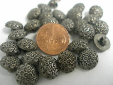 New Lot 12 Smalll Electroplated 7/16 in 11mm Plastic Silver Nickel Buttons (#J)