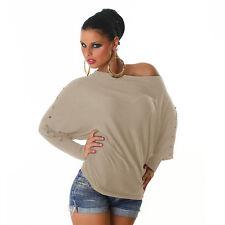Sexy Langarm Sweatshirt Shirt Pulli Pullover Beige mit Nieten 34 36 38 S M