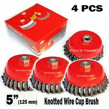 "4 pcs 5"" x 5/8"" Knot-Type Fine Wire Cup Brush Fits 4-1/2"" Angle Grinder"