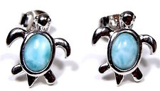 Natural Genuine AAA Dominican Larimar 925 Sterling Silver Turtle Stud Earrings