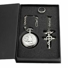 Hot Cosplay Full Metal Alchemist Edward Elric Costume Pocket Watch Necklace Ring