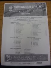 04/11/2014 Teamsheet: Birmingham City v Watford.  Thanks for viewing our item, w