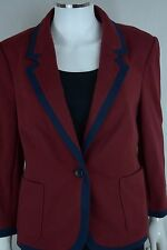 The Limited Womens Large Red Blue 3/4 Sleeve Cotton Work Career Blazer Suit New
