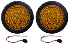 "2 Amber LED Strobe Light 4"" Round Grommets, Pigtails"