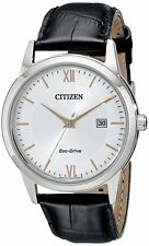 Citizen AW1236-03A Men's Eco Drive Leather Band Casual Silver Dial Dress Watch