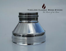 """Adaptor double insulated flue to single wall cowl stainless steel 4"""" (100mm)"""