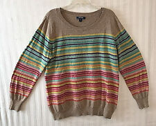 Old Navy Beige Colored Striped Pullover Sweater Sz XL