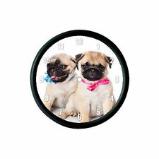 FAWN PUG PUPPIES PHOTO WALL CLOCK - DOG ANIMAL PET LOVER GIFT