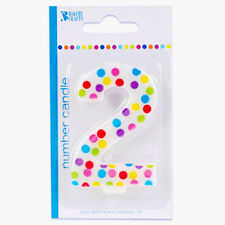2nd Birthday Polka Dot Cake Candle Second Number 2 Party Bakery Supplies