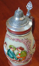 Vintage  Beer Stein With Lid  Hand Painted  Made in West Germany