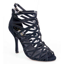 WOMAN SHOES BLACK LEATHER SUEDE SPIRAL CAGED NEST STRAPPY STILETTO HEEL SANDAL 6