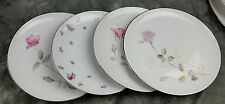 4 Vtg Pink White Rose Mismatched China Dinner Plates, Shabby Chic Wedding DP9