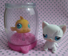 Littlest PET SHOP LPS # 9 BIANCO LONG haired CAT # 10 PESCI IN CIOTOLA