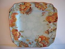 222 Fifth Gabrielle Spring Blue Square Dinner Plates Set of Four