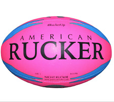 Night Rucker Rugby Ball- Pink Night Glow Ball - Training - Practice - Size 5 Bal