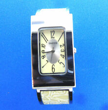 Chico's Watch Oblong Face Stainless Cuff Bracelet