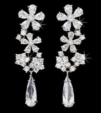 STUNNING White Gold Plated Cubic Zirconia Bridal Prom Party DROP DANGLE EARRINGS