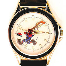 Wile E Coyote Hockey Player Fossil Silver Tone Black Insert WB Watch Unworn $115