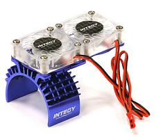 Integy Aluminum Motor Heatsink + Twin Cooling Fan Traxxas Slash 4X4 T8534BLUE