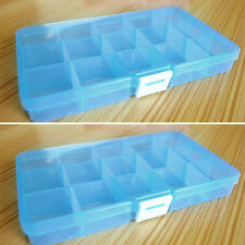 Plastic 15Slots Adjustable Jewelry Storage Box Case Craft Organizer Beads Blue