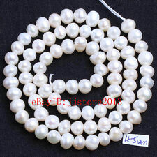 4-5mm Natural White Freshwater Pearl Irregular Shape Gems Loose Beads Strand 15""