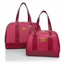 JOY Mangano Luggage Light Carry-On and Tote Weekender 2 Piece Set Fuchsia