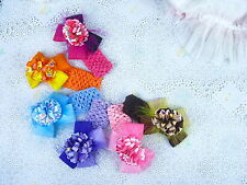 "Wholesale 6pcs baby girl hair boutique 4"" hair bows with crochet headband M2 Y"