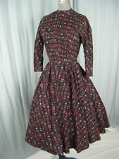 NELLY DON Vtg 50s Black Egyptian Symbols Full Circle Dress-Bust 36/2XS-XS