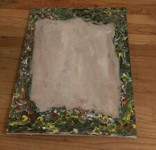 vintage oil on canvas painting Floral Framed Unique Piece Green Blue Yellow Red
