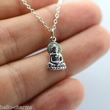 HAPPY BUDDHA NECKLACE 925 Sterling Silver Yoga Spirit Luck Feng Shui Charm Lotus