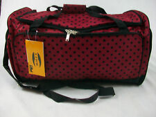 "30"" High Quality Duffle/Gym/Travel/Tote Bag  Red w/Black Polka Dots Free Ship"