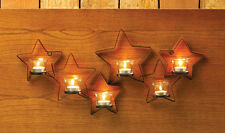 Rustic primitive western STAR Artisanal Sconce WALL mount garden candle holder