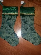 Hunter Green Scroll Christmas Stockings New With Tag