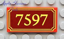 NEW Lego TRAIN NUMBER SIGN 2x4 Printed FLAT RED TILE - Disney Toy Story 7597