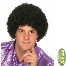 70'S NIGHT FEVER TIGHT BLACK CURLS AFRO POP WIG - mens fancy dress accessory