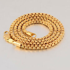 Handsome 18K Yellow Gold Filled Embossed Mens Arab Style Box Chain Necklace,19.7