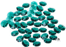 50pcs Dark Green Crystal Chandelier Decor Parts 14mm Faceted Octagon Glass Beads