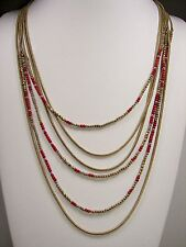 Lucky Brand Red & Gold Tone Bead Multi-Chain Long Layered Necklace MSRP $79