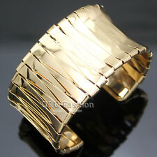 Women Gold Smooth Bold Flat Bar Braided Stack Statement Bracelet Bangle Cuff