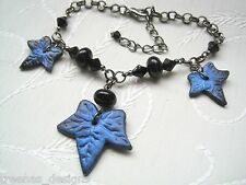 POISON IVY BLACK LEAF Blue Shimmer Haze Glass Bead CHARM BRACELET Gothic