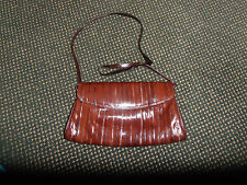 VINTAGE  BROWN GENUINE EEL SKIN SHOULDER/ CLUTCH PURSE EUC