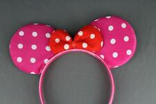 Pink Red minnie mouse ears headband ear hair band costume polka dot mickey