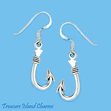 FISH HOOK FISHING 925 Solid Sterling Silver French Wire Dangle EARRINGS FISHHOOK