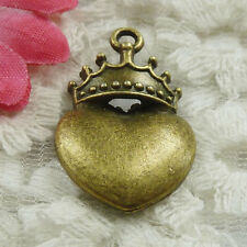 Free Ship 30 pieces bronze plated crown heart charms 28x18mm #1818