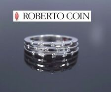 Roberto Coin 18K White Gold Parisienne 3 Row Diamond Ruby Ring Band Size 8